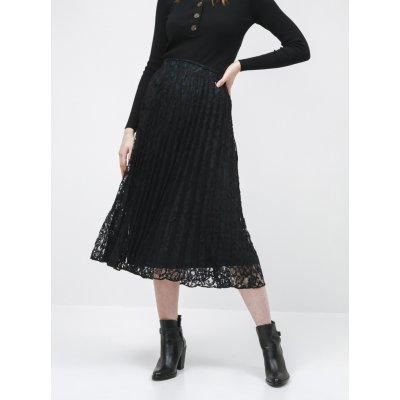 Tom Tailor Denim krajková plisovaná midi sukně černá