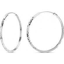 SILVEGO stříbrné náušnice kruhy 30mm