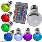 RGB LED Žárovka 3W kulatá E27 3 ks