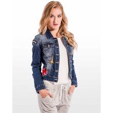 Calzanatta dámská džínová bunda s nášivkami S / modrá 992