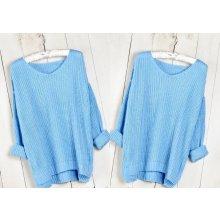 0bb120bb896 Fashionweek Báječný lehky pleteny luxusní svetr dámský V-neck MD11 017 Modrá