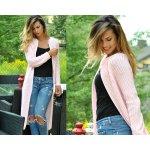 Fashionweek Luxusní neobvyklé pletené dlouhé svetry kabáty MAXI SV06 ROYAL  světle růžová e53d660d0d
