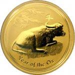 Lunární Zlatá investiční mince Year of the Ox Rok Buvola 1 Oz 2009