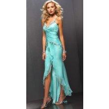 Plesové šaty tenká ramínka modré