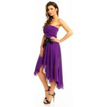 4b503b867f74 MAYAADI společenské plesové šaty korzetové s mašlí a asymetrickou sukní  fialová