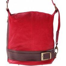 kabelka batůžek měkká přírodní kůže červená