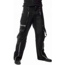 Metalové kalhoty pánské s kapsami a popruhy