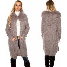 KouCla Dámský dlouhý cardigan s kapucí a kožíškem šedý 7dd443a3da