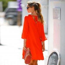 Blancheporte Šaty s výstřihem a vázačkou vzadu oranžová
