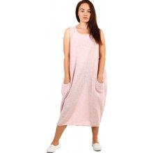 YooY dámské plážové pruhované oversized šaty s kapsami růžová e10bef4f316