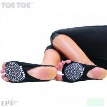 ToeToe SOLE OPEN bezprstové joga ABS protiskluzové ponožky černá