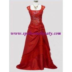 Dlouhé červené společenské plesové svatební šaty s výšivkou č. 4123 ... 6a4f74fdb4