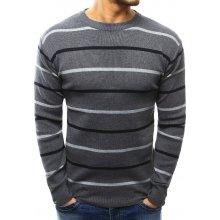 Pánský pruhovaný šedý svetr (wx1024)
