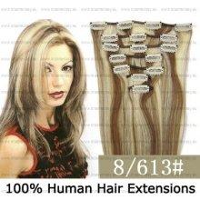 CLIP IN (klipy) pravé lidské vlasy remy 45cm odstín 08/613 melír 7 částí 70g