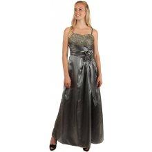 e382bef55996 YooY dlouhé večerní šaty se zlatou výšivkou a květinovou aplikací šedá