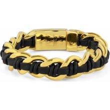 Trendhim Černo-zlatý náramek z oceli a kůže Chunky Z0-5-10750