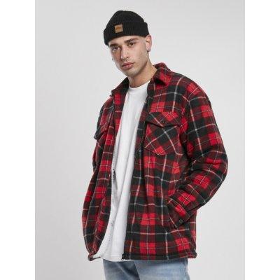 Urban Classics pánská košilová bunda Teddy červená