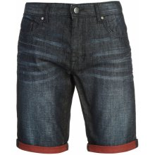 Firetrap Turn Up Denim Shorts Mens Dark Wash/Red