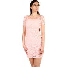 d5cedf358dc3 YooY dámské krajkované šaty s krátkým rukávem světle růžová