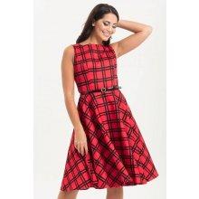 e6cc35e7295 Voodoo Vixen kostkované šaty Sonia červenočerná