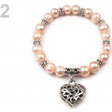 Náramek pružný z perel 2 perleť lososová
