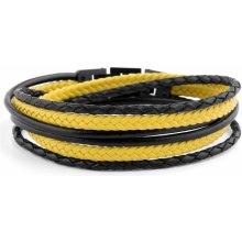 Lucleon Černo-žlutý kožený náramek Roy MP_Bracelet2