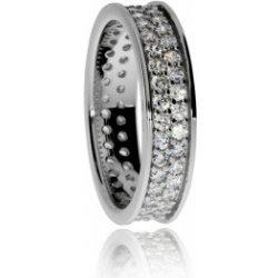 Stříbrný prsten se zirkony cubic zirconia zasazenými ve dvou řadách po  celém obvodu 062218020016 b4dbeb3838e