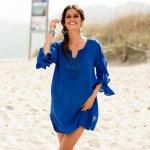 Blancheporte Macramé plážová tunika modrá