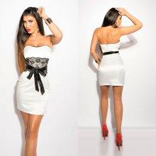 c73dd4ef3c37 Bandeau mini šaty s krajkou a mašlí Koucla bílé