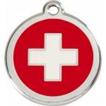 Red Dingo Známka švýcarský kříž s rytím velká