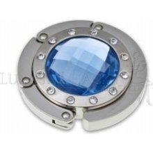 Háček na kabelku - krystal + 12 kamínků - modrý