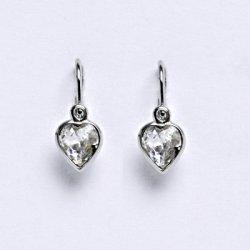 Náušnice Čištín NK 1315 dětské náušnice bílé zlato se Swarovski krystalem  srdce čiré 77d4cca9b83