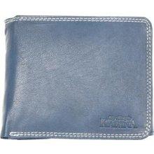 Pánská kožená šedo peněženka Kabana modrá