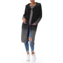 VOYELLES Dámský dlouhý svetr kardigan s kapucí a kapsami černá bd5e019c42a