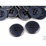 "Knoflík kovový Fashion velikost 26"" modrá hydro 5ks"