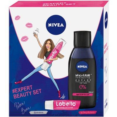 Nivea Expert Beauty MicellAir micelarní voda pro ženy 200 ml + Labello Pink balzám na rty v tužce 3 g + Labello Watermelon balzám na rty 4,8 g dárková sada