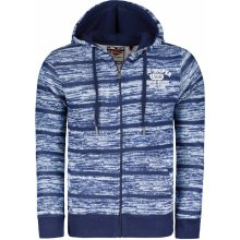 Lee Cooper Textured AOP Zip Hoody Mens Blue Stripe