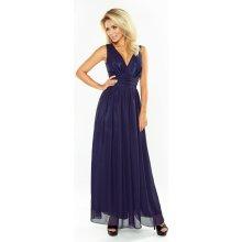 Numoco luxusní dámské společenské a plesové šifonové šaty dlouhé tmavě modrá 9a76065214
