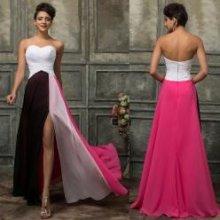 Jemné trojbarevné plesové šaty