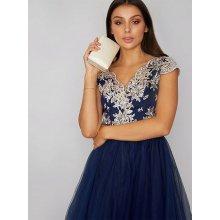 Chi Chi London společenské šaty s vyšívaným živůtkem Joan modrá 75b390b1e6