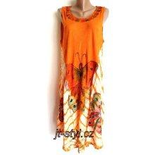 821e85a5aebf Indické šaty ruční batika motýli 1004 oranžová