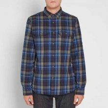 FJÄLLRÄVEN Flanelová tmavě modrá kostkovaná košile 8c3aa67b55