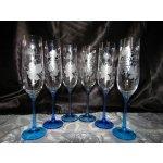 Lsg-Crystal Skleničky broušené na šampus/sekt/šumivé víno barva modrá dekor Víno dárkové balení saten SK-373 6 Ks 190 ml