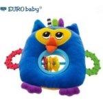 EURO BABY Plyšová hračka s kousátkem a chrastítkem Sovička modrá
