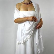 Svatební šála bílá