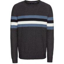 TOM TAILOR Pulovr 'structured sweater Pullover 1/1' námořnická modř / chladná modrá / nebeská modř / přírodní bílá