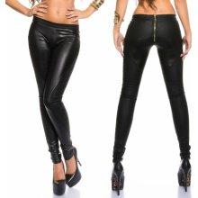 5cfb2de44913 Dámské koženkové kalhoty se zlatým zipem Koucla černé