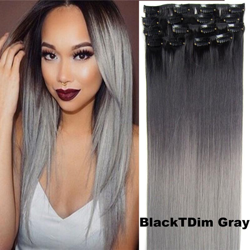 Clip in sada OMBRE - odstín Black T Dim Gray df7d39fe5f0