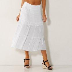 59d73223402f Blancheporte polodlouhá sukně s volány jednobarevná bílá od 629 Kč ...