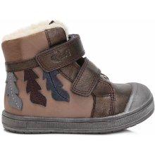 dd8da7bb4bc Ponte 20 Dívčí kožené boty s listy - hnědé